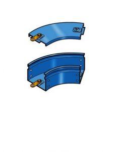 Curva piana a 45^ 150x75 zincata c/coper