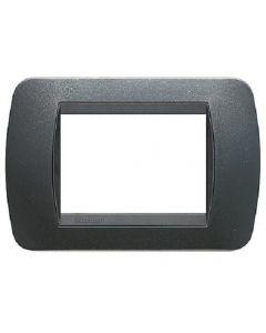 Placca 3 posti in plastica acciaio scuro living international