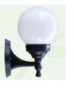 Lanterna da parete con spera opale su braccio attacco lampada e27 potenza massima 100w