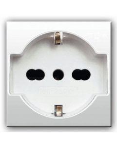 Domus presa schuko bipasso universale 10/16A  alveoli schermati  illuminabile  2 moduli bianco AVE 441090/15TS