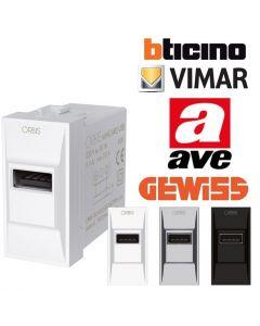 PRESA USB INCASSO 2A VIMAR BTICINO AVE SMATPHONE e TABLET ORBIS OB140602