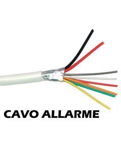 Cavo per impianti di allarme schermato 6 conduttori 2x0,50+4x0,22 mmq