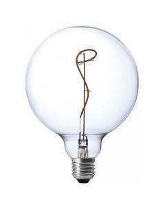 Lampadina a led dimmerabile 4W tipo G125 globo colore clado 2200K con vetro chiaro effetto vite con unico filamento rampicante DL120