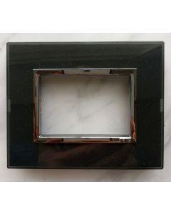 PLACCA 3 POSTI NERO GLITTER COMPATIBILE CON SUPPORTO BTICINO AXOLUTE H4703