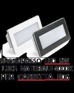 SEGNAPASSO LED 5W INCASSO PER SCATOLA 506 4000K IP65 CORNICE BIANCA INOX LAMPO