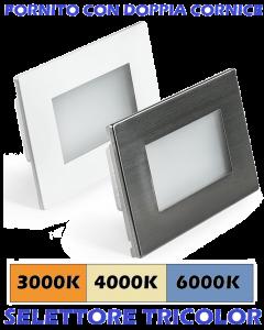 SEGNAPASSO LED 3W INCASSO PER SCATOLA 503 3000K-4000K-6000K IP65 CORNICE BIANCA INOX