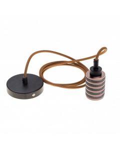 Pendel 2 metri cavo marrone 3x0.75, con portalampada attacco E27 in metallo moderno colore marrone rosone diametro 100mm colore nero AT662