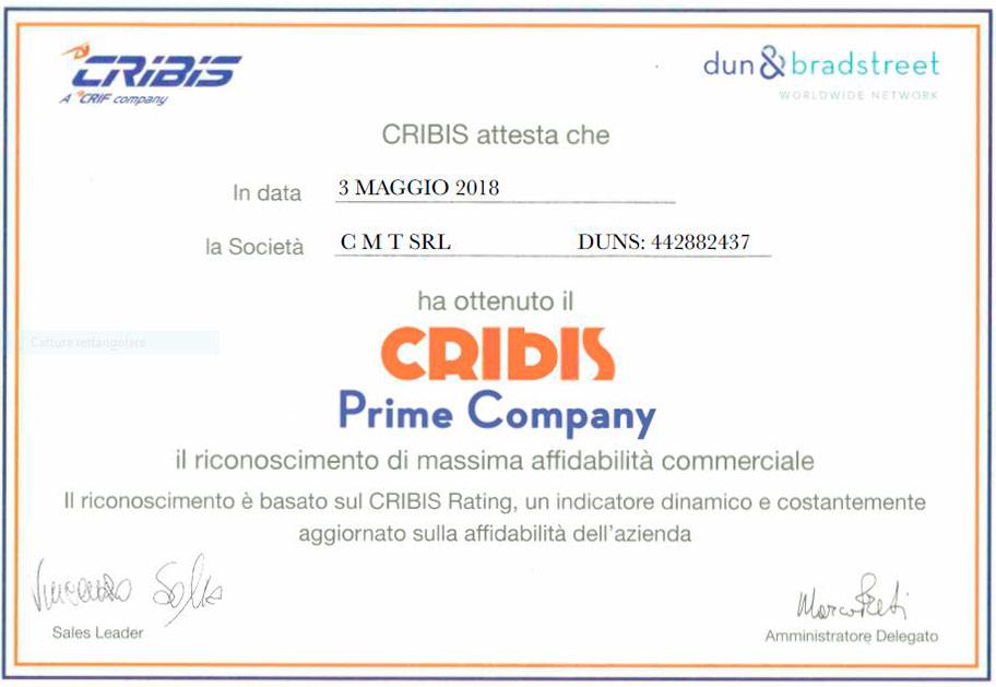 CMT srl - Azienda certificata CRIBIS